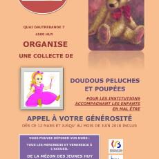 Collecte de doudous, peluches et poupées du 12 mars au 30 juin 2018