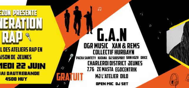 Génèration Rap : Festival des ateliers rap en maison de jeunes – 22 Juin